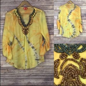 Hale Bob Cabana Silk Tie - Dye Embellished Tunic